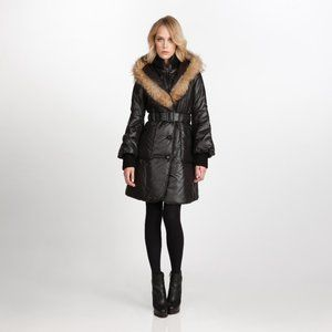 Mackage Candice Black Mid Length Puffer Parka with Fur Trim Hood